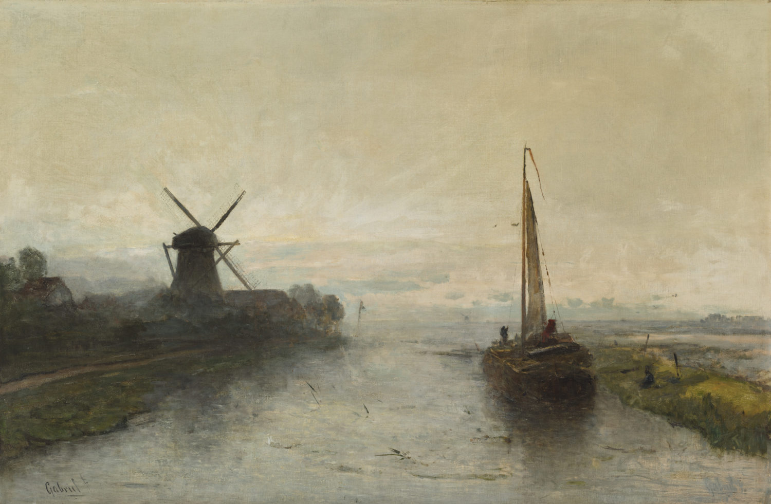 Paul Joseph Constantin ('Constant') Gabriël | A polder landscape with a boat and a windmill | Kunsthandel Bies | Bies Gallery