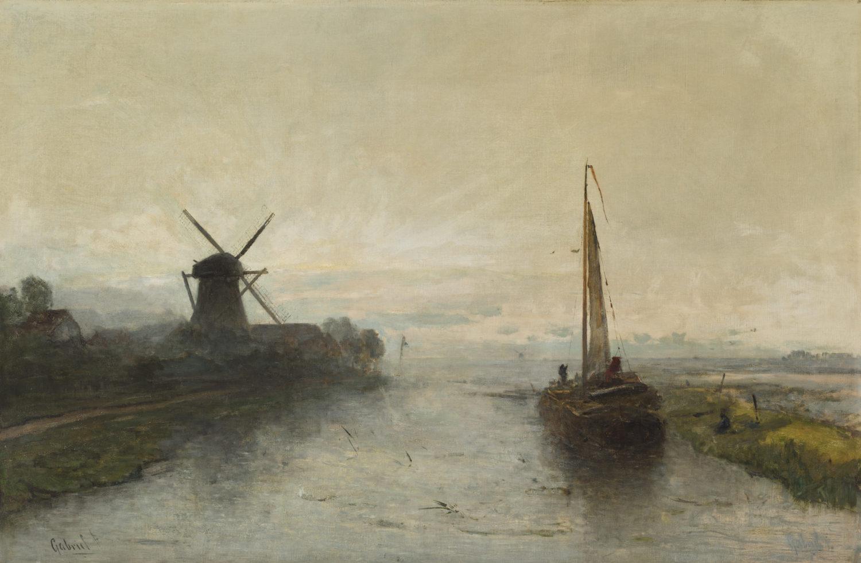 Paul Joseph Constantin ('Constant') Gabriël | Polderlandschap met boot en molen | Kunsthandel Bies
