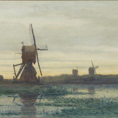 Paul Joseph Constantin ('Constant') Gabriël | Polderlandschap met molens | Kunsthandel Bies
