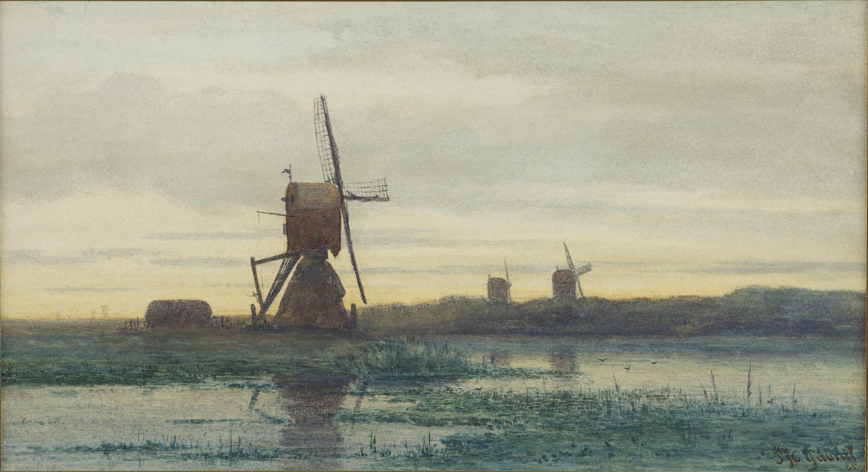 Paul Joseph Constantin ('Constant') Gabriël | A polder landscape with windmills | Kunsthandel Bies | Bies Gallery