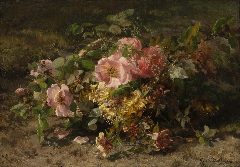 Gerardine van de Sande Bakhuyzen | Bloemstilleven op de bosgrond | Kunsthandel Bies