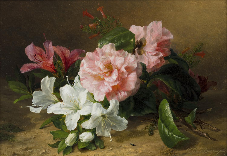 Gerardine van de Sande Bakhuyzen | A still life with camellias and azaleas| Kunsthandel Bies| Bies Gallery