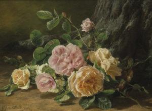 Gerardine van de Sande Bakhuyzen | Stilleven met roze en gele rozen