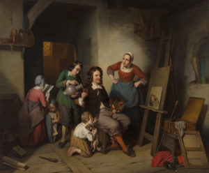 Napoléon François Ghesquière | De schilder in zijn atelier | Kunsthandel Bies