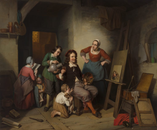 Napoléon François Ghesquière   De schilder in zijn atelier   Kunsthandel Bies