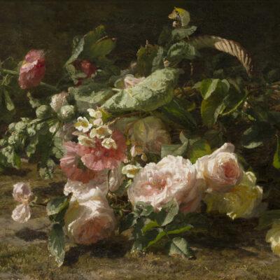 Gerardine van de Sande Bakhuyzen | Rozen in een gevlochten mand | Kunsthandel Bies