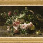 Gerardine van de Sande Bakhuyzen | Rozen in een gevlochten mand | met lijst | Kunsthandel Bies
