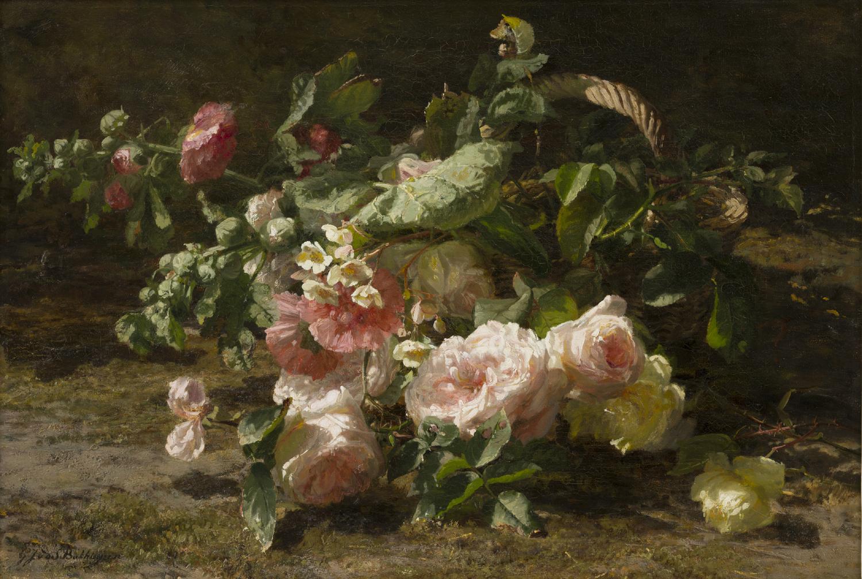 Gerardine van de Sande Bakhuyzen | Roses in a wicker basket | Kunsthandel Bies | Bies Gallery