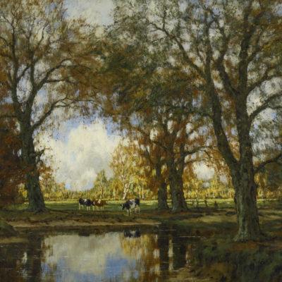 Arnold Marc Gorter | Zomers landschap met koeien bij een beek | Kunsthandel Bies