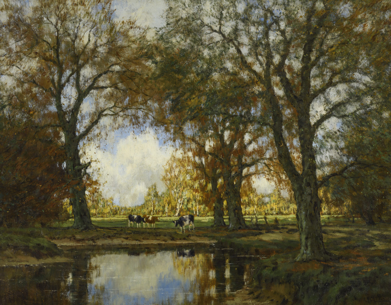Arnold Marc Gorter | A summer landscape with cows near a stream | Kunsthandel Bies | Bies Gallery