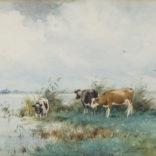 Adrianus Johannes Groenewegen   Koeien aan het water   Kunsthandel Bies