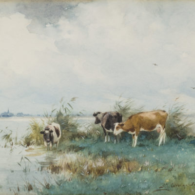 Adrianus Johannes Groenewegen | Koeien aan het water | Kunsthandel Bies