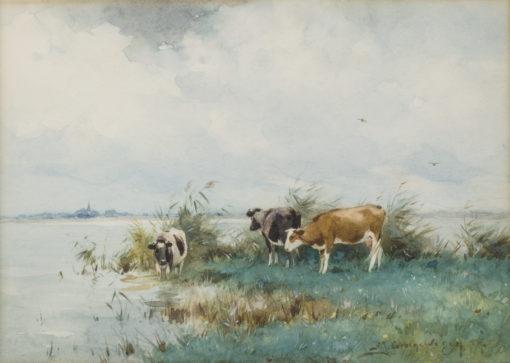 Adrianus Johannes Groenewegen | Koeien aan het water | Kunsthandel Bies