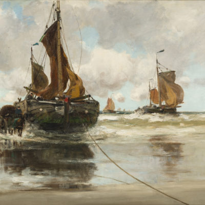 Charles Paul Gruppe| Het uitladen van de vangst | Kunsthandel Bies