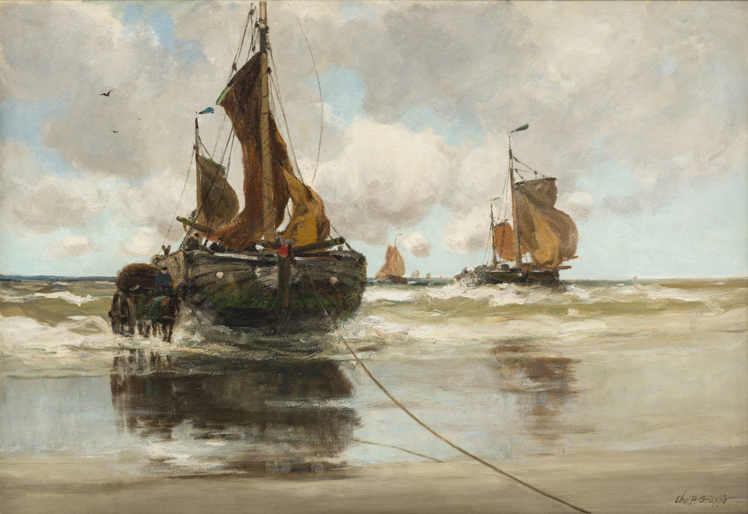 Charles Paul Gruppe| Unloading the day's catch | Kunsthandel Bies | Bies Gallery