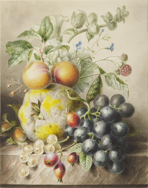 m Hekking Sr. | Stilleven met abrikozen, druiven en kruisbessen | Kunsthandel Bies