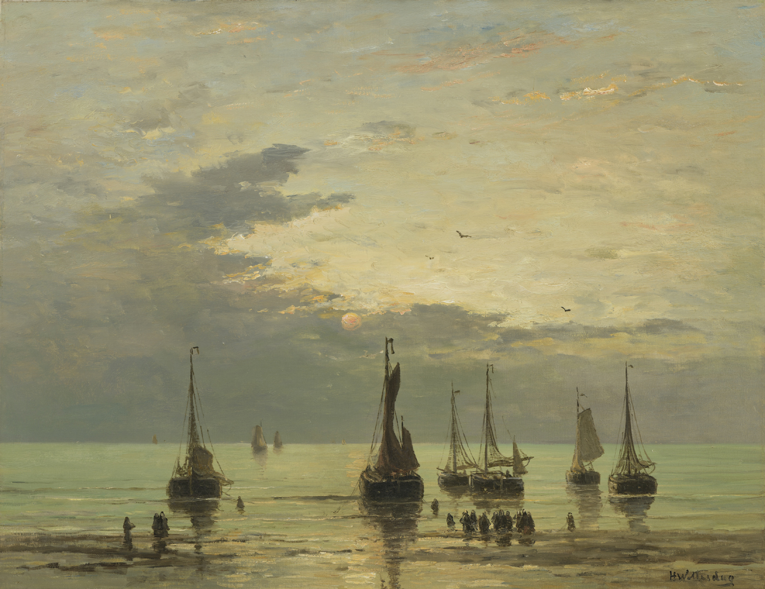 Hendrik Willem Mesdag | Return of the fishing fleet | Kunsthandel Bies | Bies Gallery