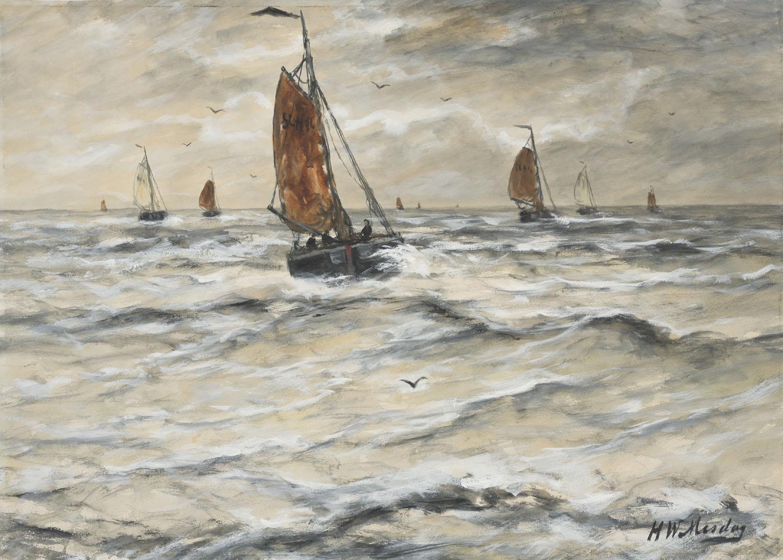 Hendrik Willem Mesdag | Vissersboten op zee | Kunsthandel Bies