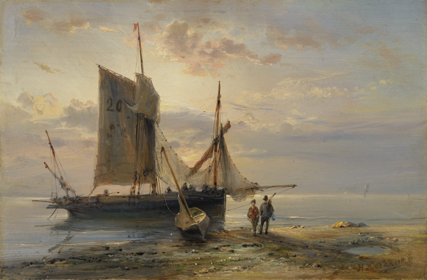 Hermanus Koekkoek | A sailing boat at anchor off the coast | Kunsthandel Bies | Bies Gallery