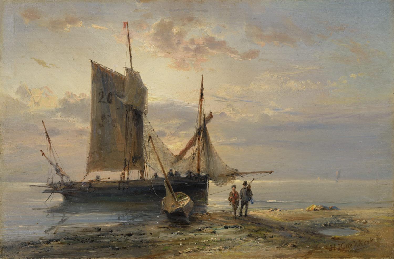 Hermanus Koekkoek | Een zeilschip voor anker voor de kust | Kunsthandel Bies