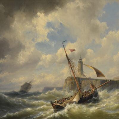 Hermanus Koekkoek Jr | Zeilschip voor de kust in woelig water