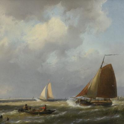 Hermanus Koekkoek | Schepen voor de kust | Kunsthandel Bies