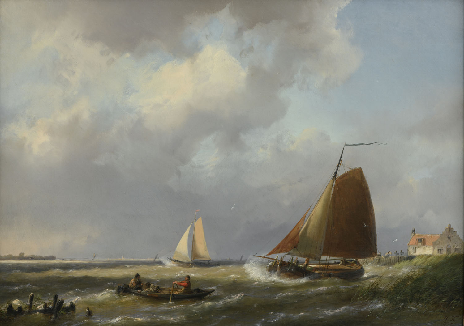 Hermanus Koekkoek | Shipping off the coast | Kunsthandel Bies | Bies Gallery