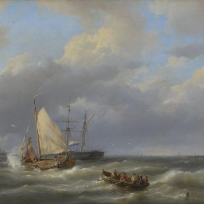 Hermanus Koekkoek | Zeilschepen en een sloep in woelig water | Kunsthandel Bies