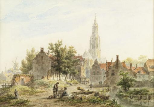 Bartholomeus Johannes van Hove | Gezicht op een Hollandse stad | Kunsthandel Bies