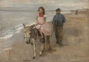 Isaac Israels | Ezeltje rijden op het strand | Kunsthandel Bies