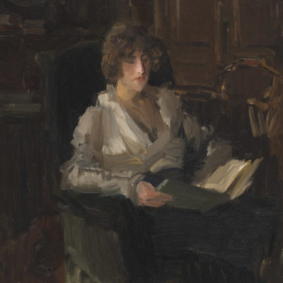Isaac Israels | Sophie de Vries, lezend in het atelier van Israels in Den Haag | Kunsthandel Bies