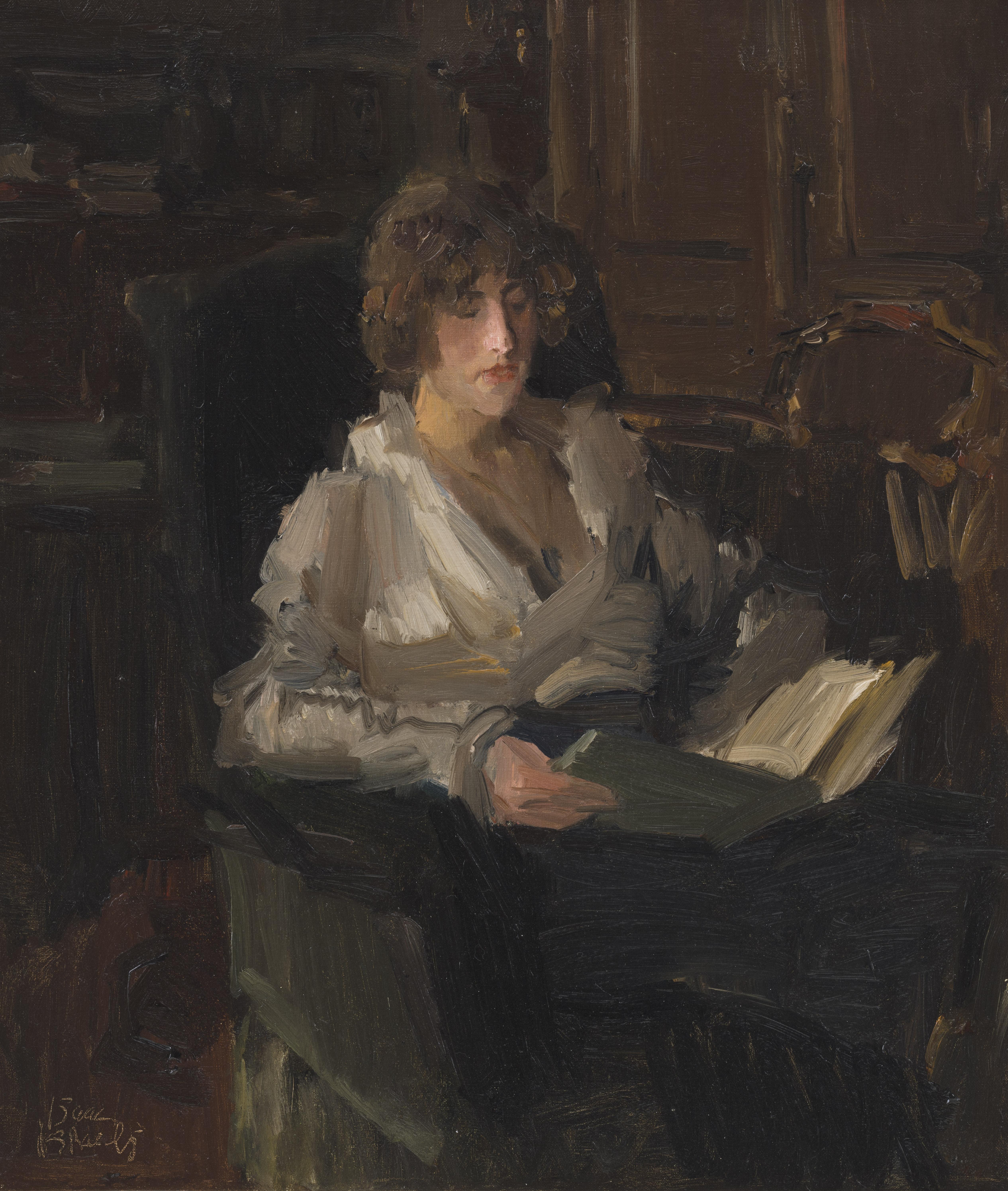Isaac Israels | Sophie de Vries reading a book in Israels' studio in The Hague | Kunsthandel Bies | Bies Gallery