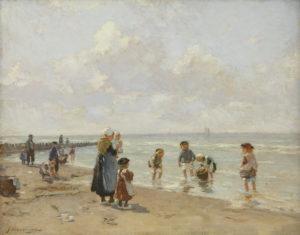 Johannes Evert Hendrik Akkeringa | Strandgezicht met kinderen | Kunsthandel Bies