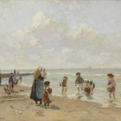 Johannes Evert Hendrik Akkeringa | Strandgezicht met kinderen | Kunsthandel Bies