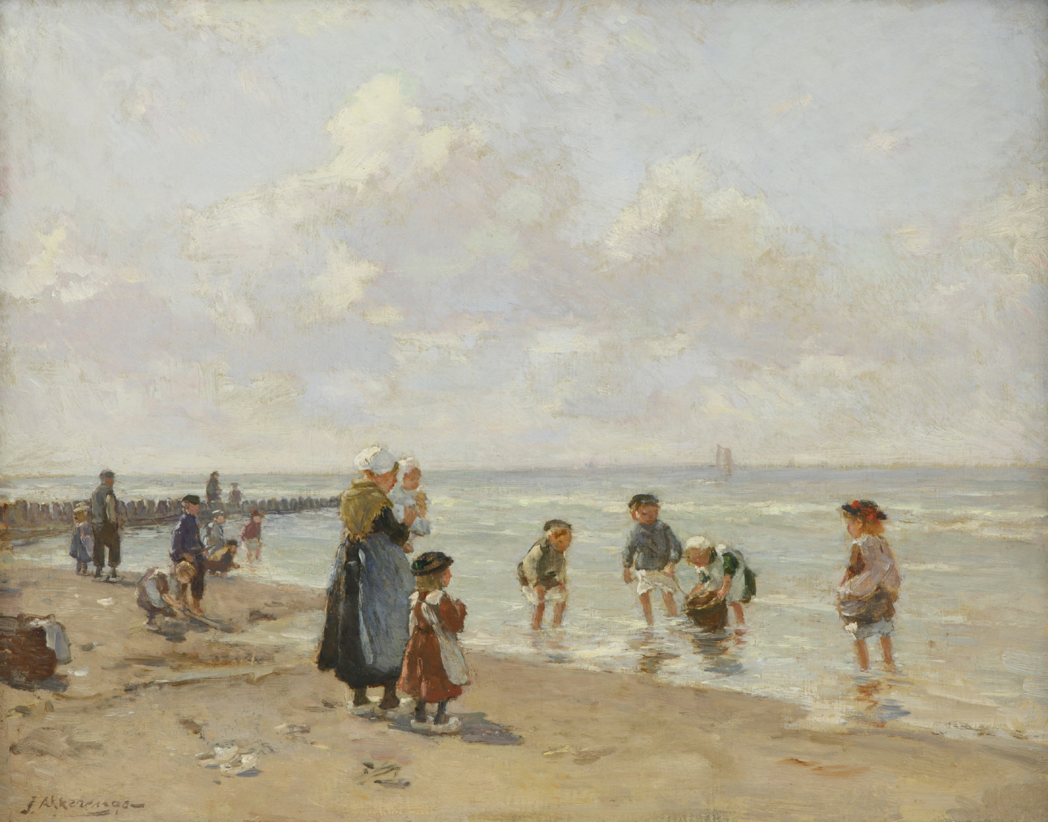 Johannes Evert Hendrik Akkeringa | Beach scene with children | Kunsthandel Bies | Bies Gallery