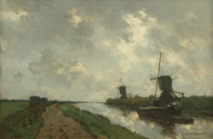 Hendrik Johannes ('J.H.') Weissenbruch   Hollands polderlandschap met molens   Kunsthandel Bies