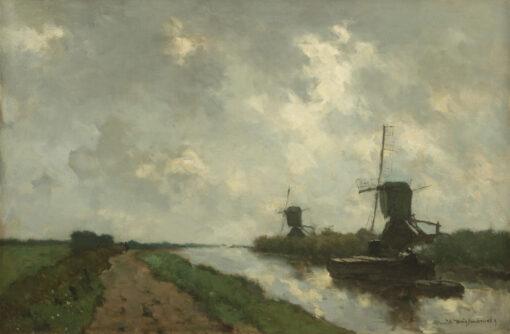 Hendrik Johannes ('J.H.') Weissenbruch | Hollands polderlandschap met molens | Kunsthandel Bies