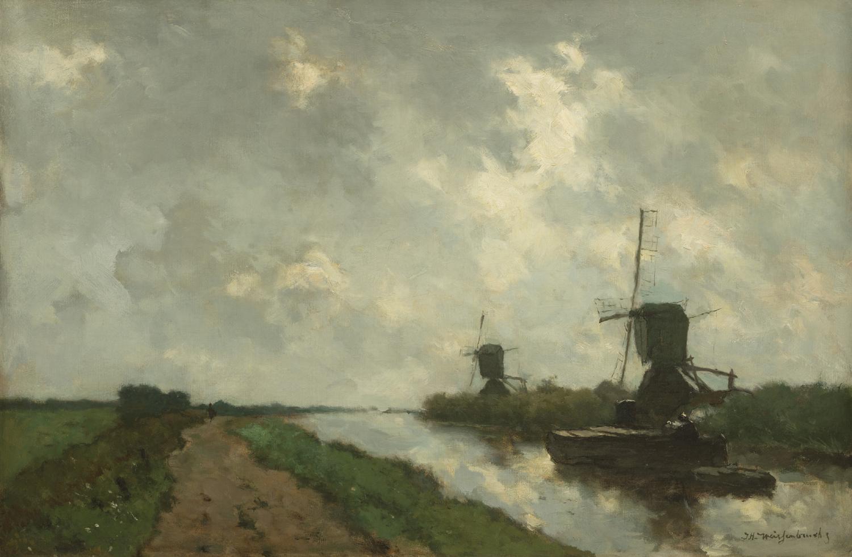 J.H. Weissenbruch | A Dutch polder landscape with windmills| Kunsthandel Bies | Bies Gallery