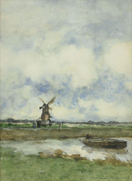 Hendrik Johannes Weissenbruch | Polderlandschap met molen een een praam | Kunsthandel Bies