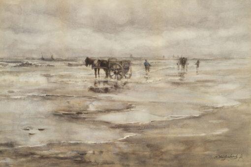 Hendrik Johannes Weissenbruch | Schelpenvissers op het strand | Kunsthandel Bies