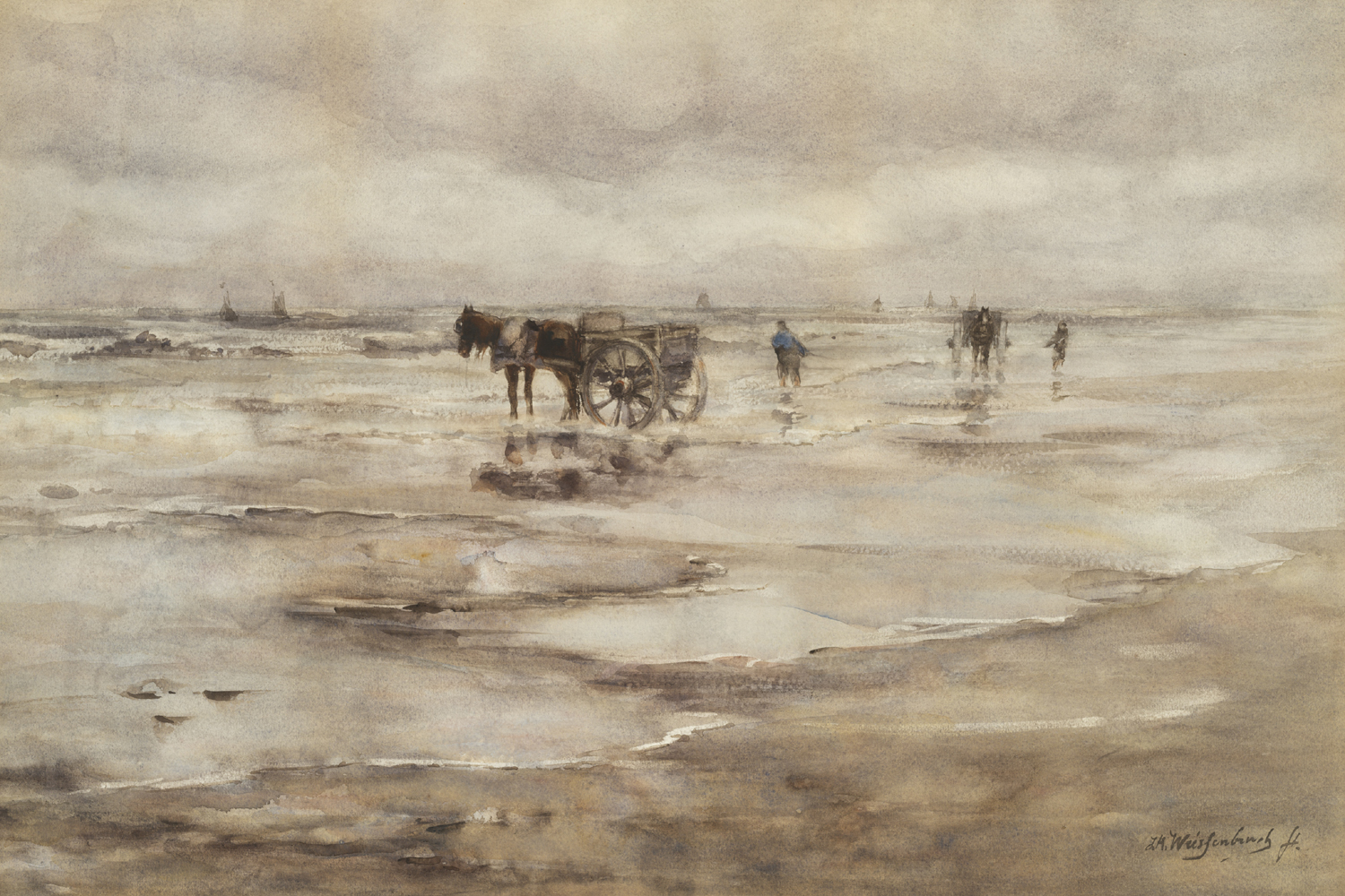 J.H. Weissenbruch | Shell gatherers on the beach| Kunsthandel Bies | Bies Gallery