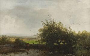 Johannes Warnardus Bilders | Landschap met hengelaar | Kunsthandel Bies