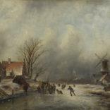 Jacob Jan Coenraad Spohler | Winterlandschap met schaatsenrijders bij Zaandam