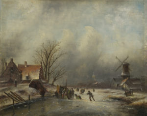 Jacob Jan Coenraad Spohler | Winterlandschap met schaatsenrijders bij Zaandam | Kunsthandel Bies