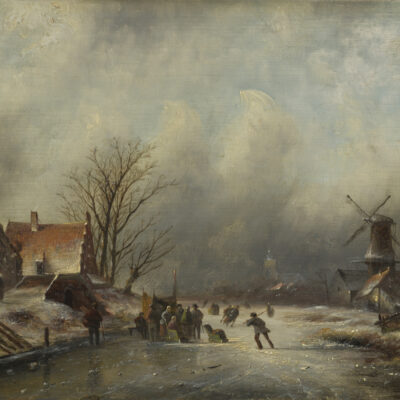 Jacob Jan Coenraad Spohler | Winterlandschap met schaatsenrijders bij Zaandam