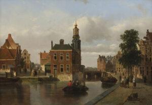 Adrianus Vrolijk | Stadsgezicht met de Munttoren in Amsterdam | Kunsthandel Bies
