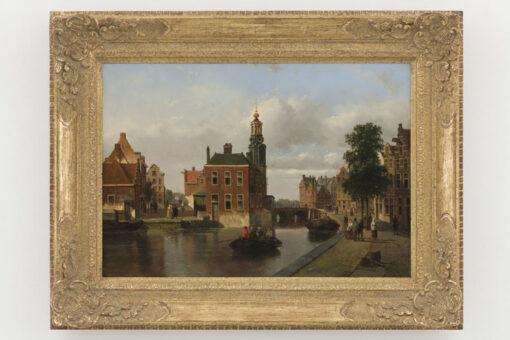 Adrianus Vrolijk   Stadsgezicht met de Munttoren in Amsterdam   Kunsthandel Bies