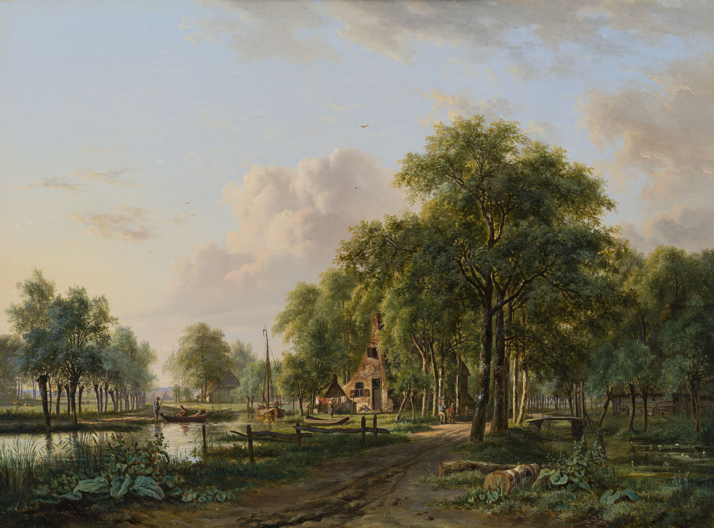 Jacobus Theodorus Abels | Zomerlandschap met figuren bij een huis aan een rivier | Kunsthandel Bies