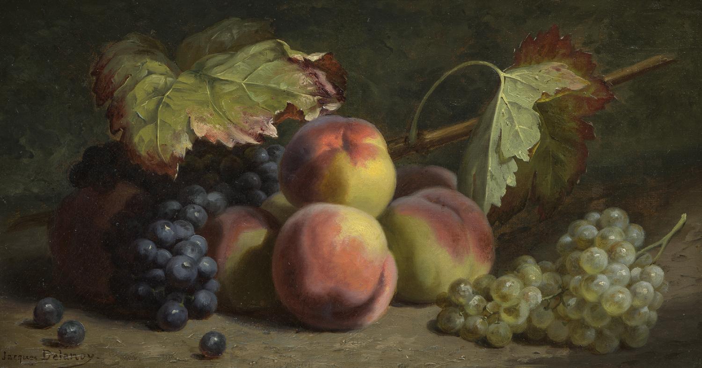 Jacques Delanoy | Stilleven met perziken en druiven | Kunsthandel Bies