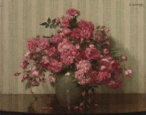 Jan Bogaerts | Stilleven met roze trosrozen | Kunsthandel Bies